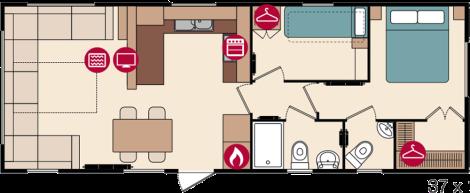 Pemberton Lancaster Mobile Home- 2 Bedroom Floor Plan