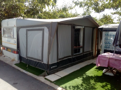 Static Touring Caravan And Awning For Sale On Camping Armanello Campsite In Benidorm Costa Blanca Spain